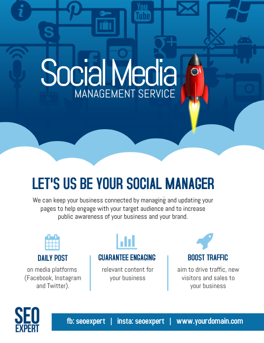 social networking sites templates php - copy of social media marketing management company poster