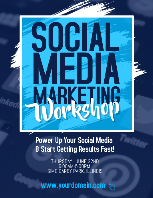 Social Media Marketing Workshop Flyer Poster Template Postermywall