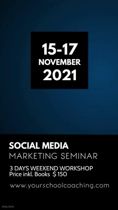 Social Media Online Digital Marketing Seminar História do Instagram template