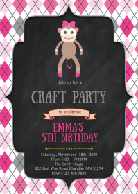 Sock Monkey birthday party invitation