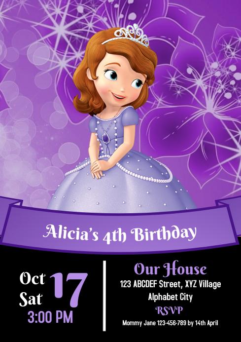 Sofia the First Birthday Invitation A4 template
