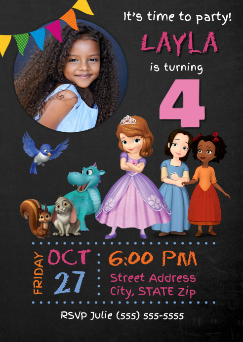 Sofia The First Birthday Invitation Template