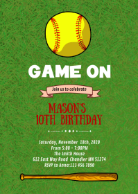 Softball birthday party invitation