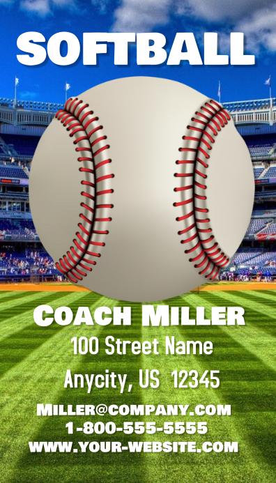 Softball Coach Business Card Visitekaartje template