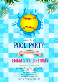 Softball pool birthday party invitation