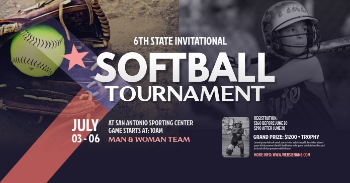 Softball Tournament Facebook Shared Image template