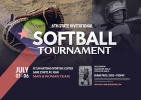 Softball Tournament Postcard template