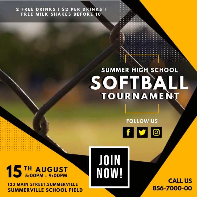 Softball Tournament Video Ad Design Carré (1:1) template
