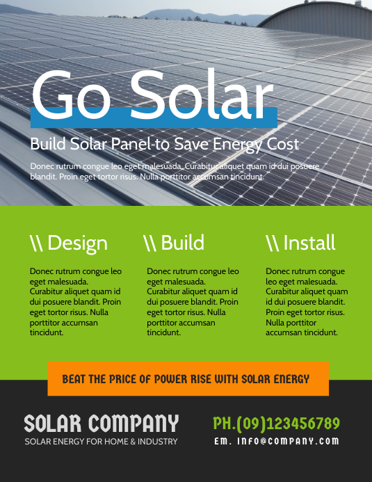 Solar Energy Flyer Template Postermywall