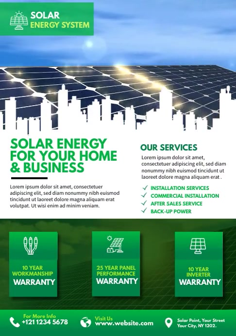 Solar Energy Video Flyer A4 template