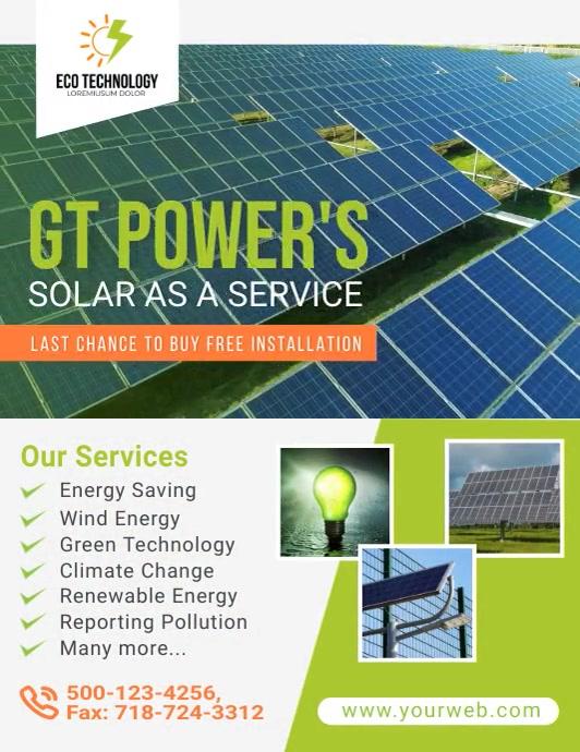 Solar Energy Video Template Volante (Carta US)