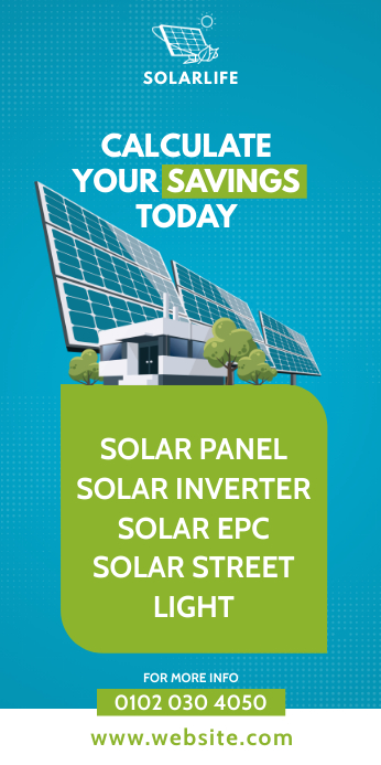 Solar Panel Ad Cartel enrollable de 3 × 6 pulg. template