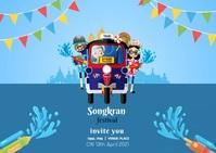 Songkran Festival postcard Carte postale template