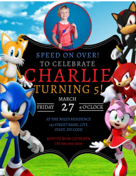SONIC Birthday Party Invitation Template Flyer (US-Letter)
