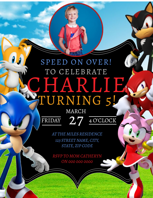 Sonic Birthday Party Invitation Template Postermywall