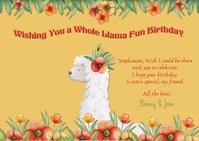 Sophisticated Birthday Llama Postcard 明信片 template