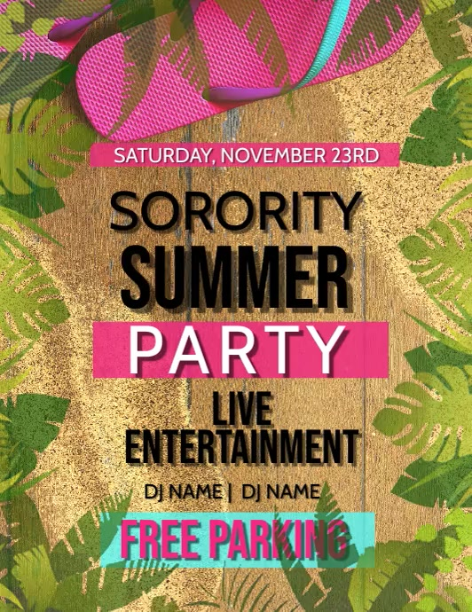 Sorority College Summer Party Flyer Template