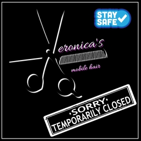 Sorry Temporarily Closed Hairdressing logo