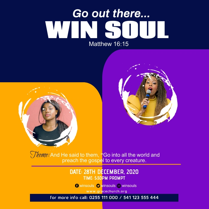 soul winning church poster Wpis na Instagrama template
