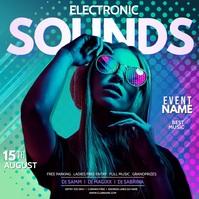 Sounds, DJ, disco party, summer vibes Quadrado (1:1) template