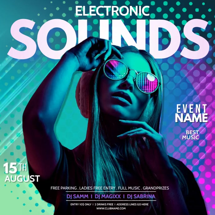 Sounds, DJ, disco party, summer vibes Square (1:1) template