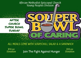 Souper Bowl of Caring church fundraiser Postcard template