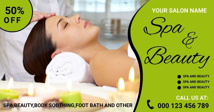 Spa,spa center, fitness Facebook Shared Image template