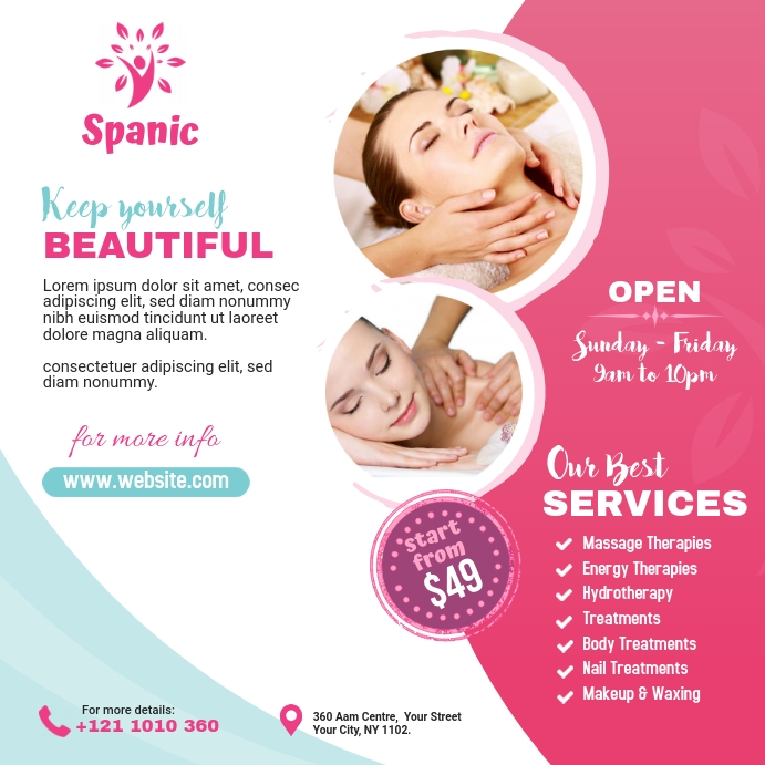 Spa & Beauty Care Center Ads Publicación de Instagram template