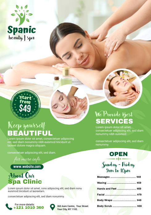Spa and Salon Flyer Template A4