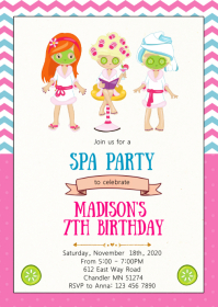 Spa birthday party invitation A6 template