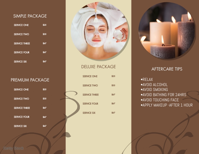 Spa Brochure Menu Part B Flyer (Letter pang-US) template