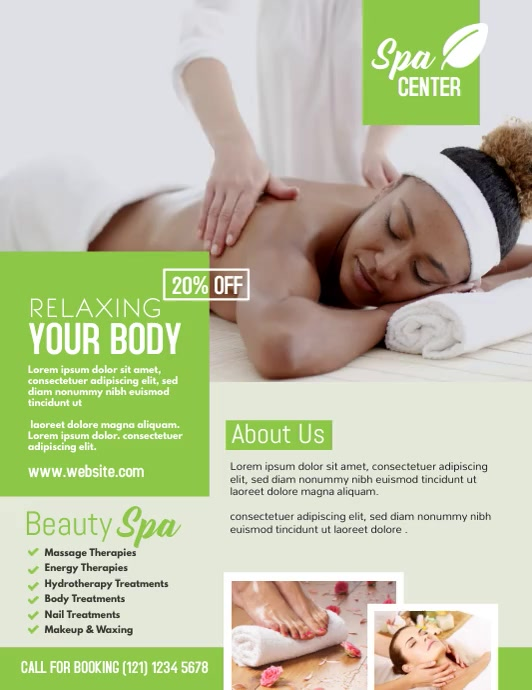 Spa Center Ad Pamflet (Letter AS) template