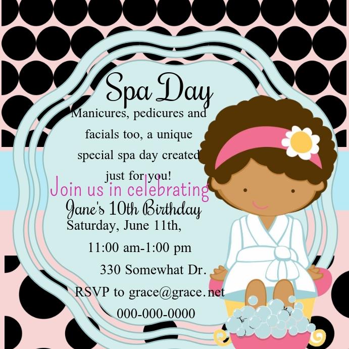 Spa Day Birthday Invite Wpis na Instagrama template