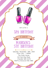Spa mani pedi birthday party invitation