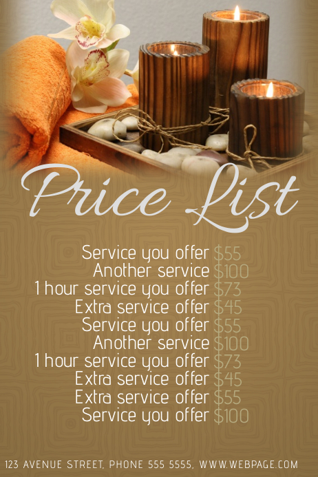 spa or beauty salon price list template postermywall