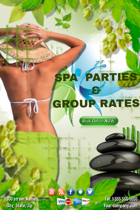 Spa Parties Template Poster