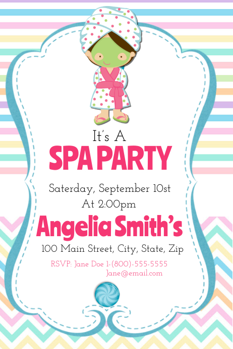 Spa Party Poster template