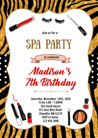 Spa party theme invitation A6 template