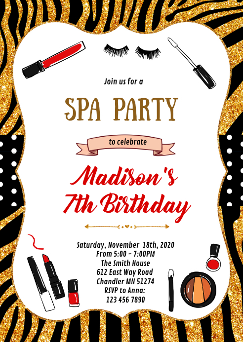 Spa party theme invitation