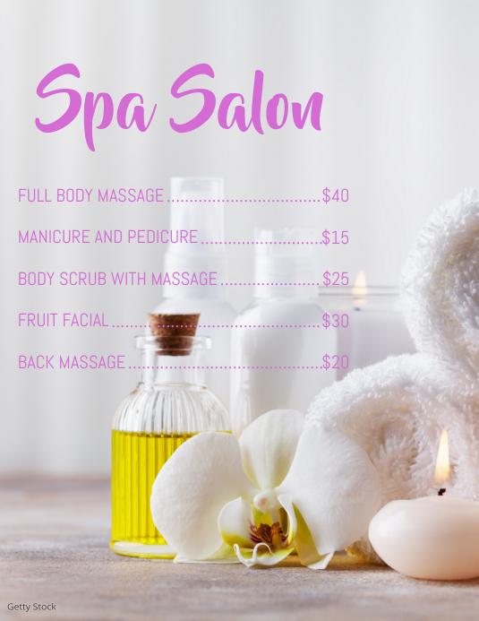 Spa Salon Løbeseddel (US Letter) template