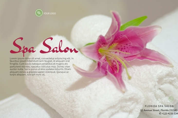 spa salon luxury flyer template silver and purple landscape