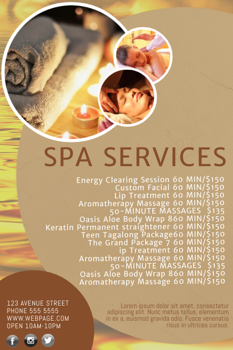 spa salon price list template postermywall