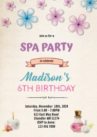Spa slumber birthday shower invitation A6 template