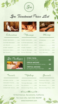 Spa Treatment Price list Digital Display Template