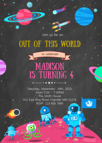 Space birthday party invitation A6 template