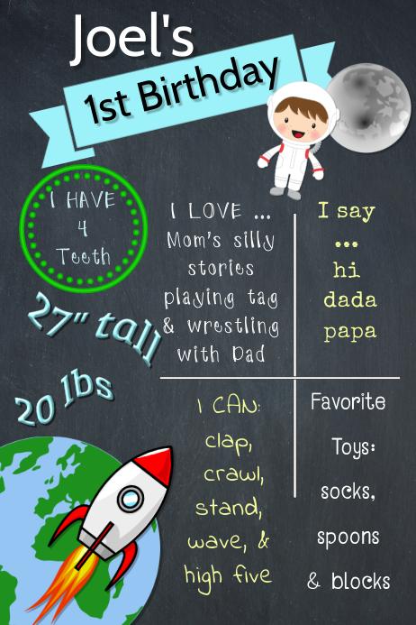 Space Boy Brag Poster template