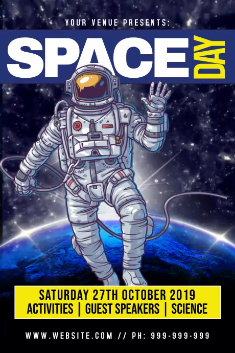 Space Day Poster template