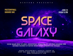 Space Galaxy Landscape Size Flyer Template