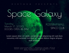 Space Galaxy Party Landscape Flyer Template