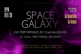 Space Galaxy Purple Party Flyer Template Etykieta